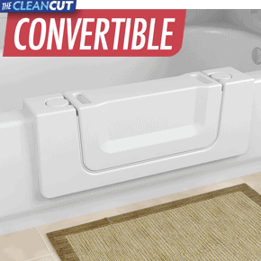 The CleanCut Convertible™ bathtub cutout kit you can convert your existing bathtub into an accessible walk-in bathtub and still have a full bath!