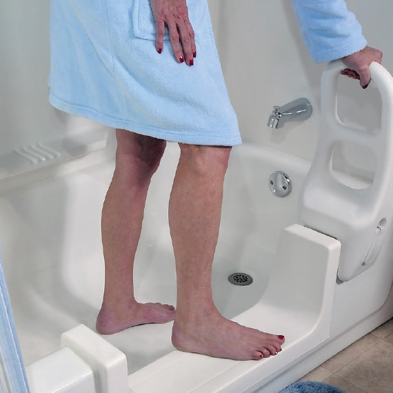 Bathtub safety for seniors with the clamp on molded grab bar