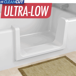Convert your existing acrylic or fiberglass with the CleanCut Ultra-Low bathtub cutout conversion.